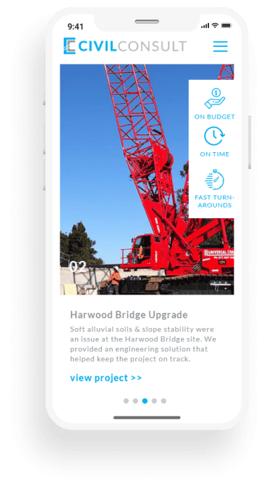 engineering website mobile project page